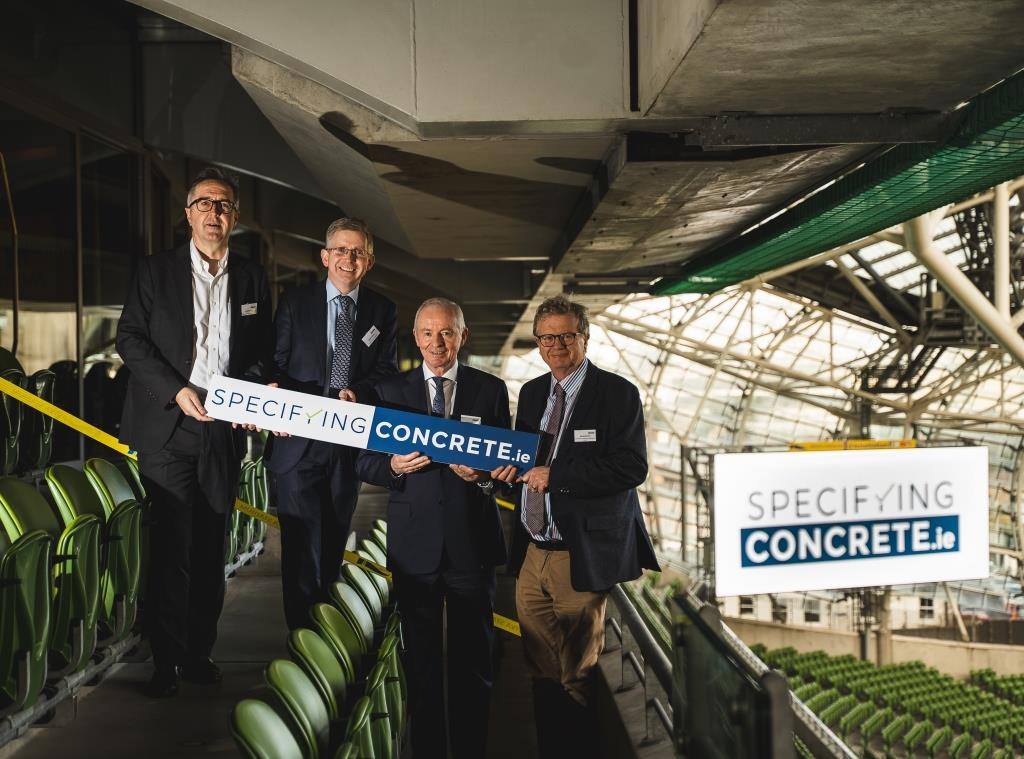 Pictured (L-R) are Shane Santry – SSA Architects, Gerry, Eamon Booth – Chairman, Irish Concrete Society (ICS), and Jim Mansfield